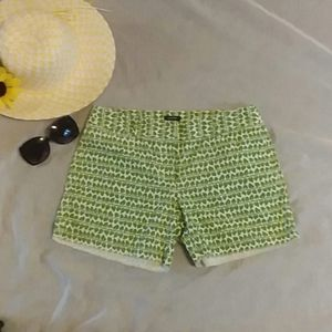 J Crew city fit shorts,green leaves white, sz. S